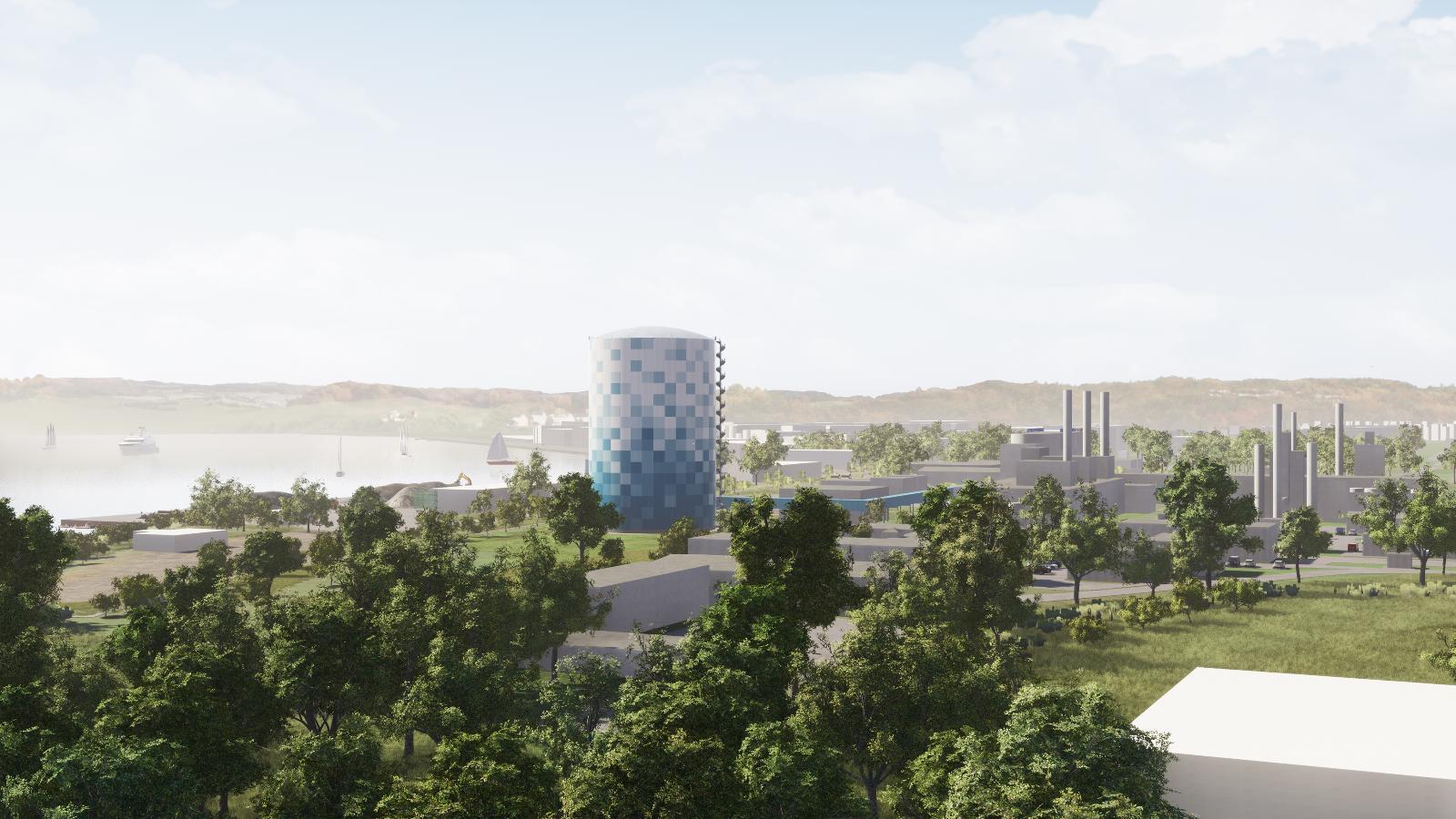Ansicht des Wärmespeichers am Warnowufer im geplanten Stadtwerke-Design.